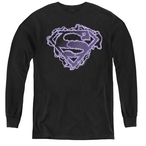 Image for Superman Youth Long Sleeve T-Shirt - Electric Supes Shield Logo