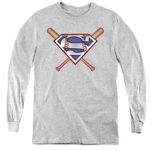 Image for Superman Youth Long Sleeve T-Shirt - Crossed Bats Logo
