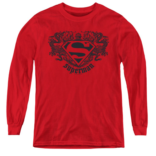 Image for Superman Youth Long Sleeve T-Shirt - Dragon Logo