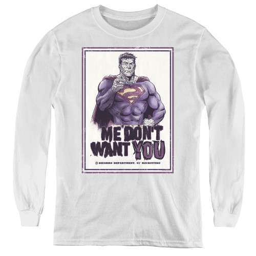 Image for Superman Youth Long Sleeve T-Shirt - Bizarro Me Don't Want You