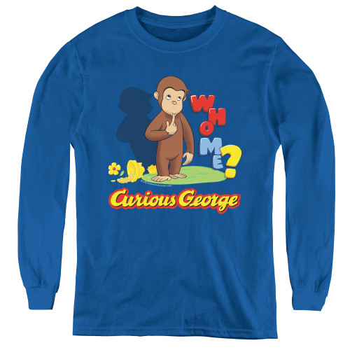 Image for Curious George Who Me? Youth Long Sleeve T-Shirt