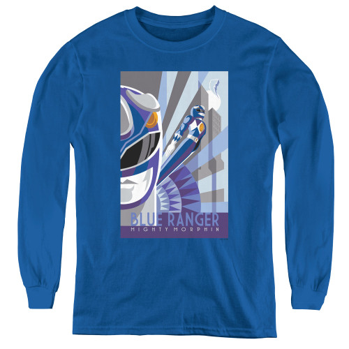Image for Power Rangers Youth Long Sleeve T-Shirt - Blue Ranger Deco