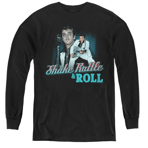 Image for Elvis Youth Long Sleeve T-Shirt - Shake Rattle & Roll