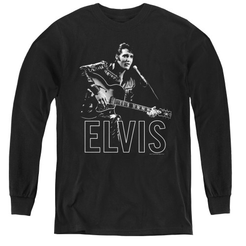 Image for Elvis Youth Long Sleeve T-Shirt - Guitar in Hand