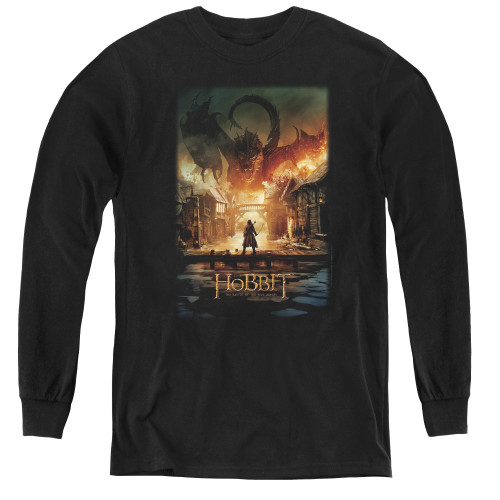 Image for The Hobbit Youth Long Sleeve T-Shirt - Smaug Poster