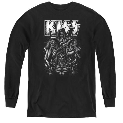 Image for Kiss Youth Long Sleeve T-Shirt - Skull