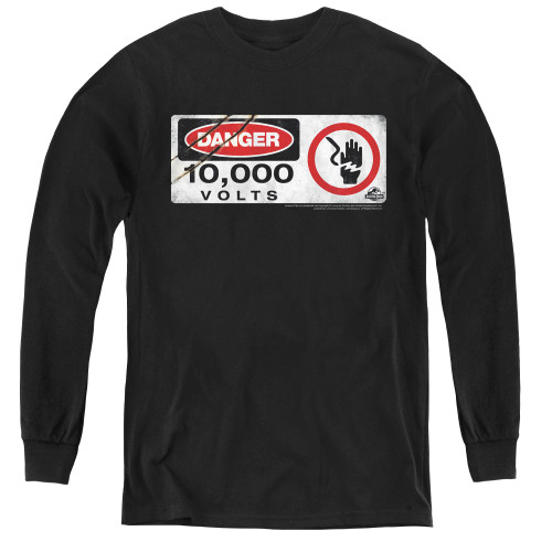 Image for Jurassic Park Youth Long Sleeve T-Shirt - Electric Fence Sign