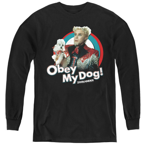 Image for Zoolander Youth Long Sleeve T-Shirt - Obey My Dog