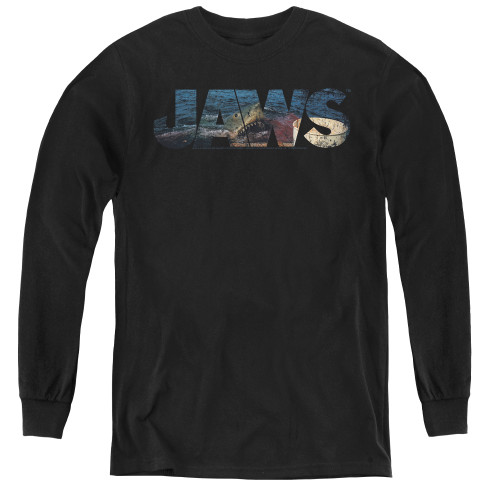 Image for Jaws Youth Long Sleeve T-Shirt - Logo Cutout