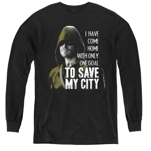 Image for Arrow Youth Long Sleeve T-Shirt - Save My City