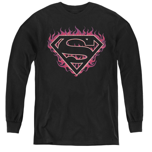 Image for Superman Youth Long Sleeve T-Shirt - Fuchsia Flames