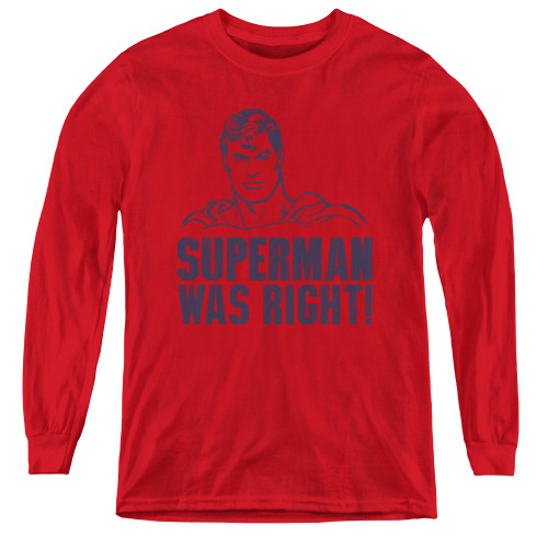 Image for Superman Youth Long Sleeve T-Shirt - Was Right