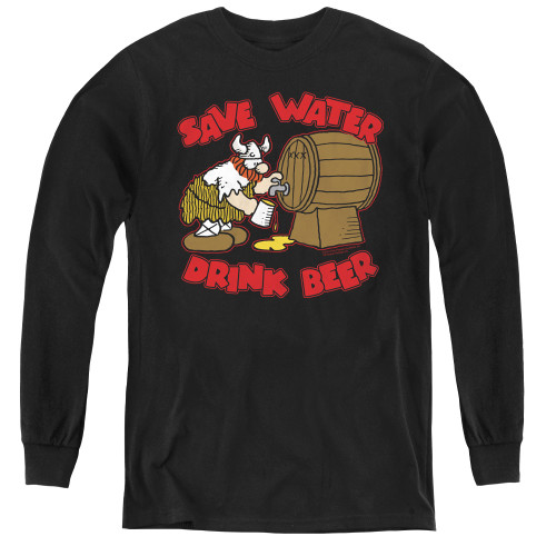Image for Hagar The Horrible Youth Long Sleeve T-Shirt - Save Water Drink Beer
