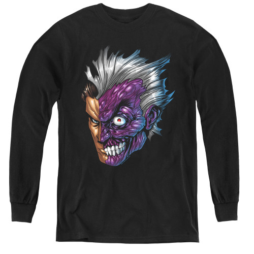 Image for Batman Youth Long Sleeve T-Shirt - Just Face
