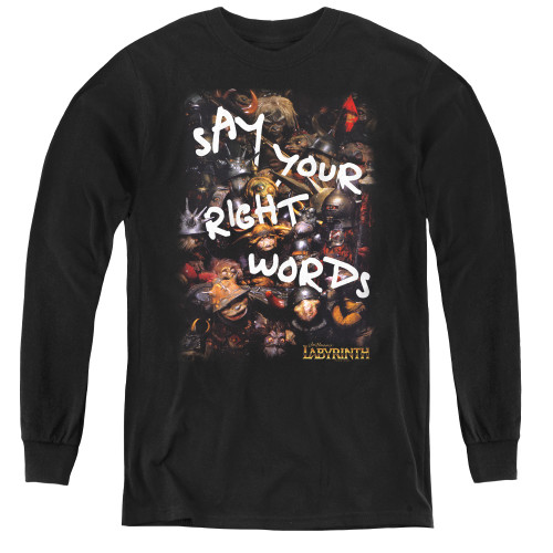 Image for Labyrinth Youth Long Sleeve T-Shirt - Right Words