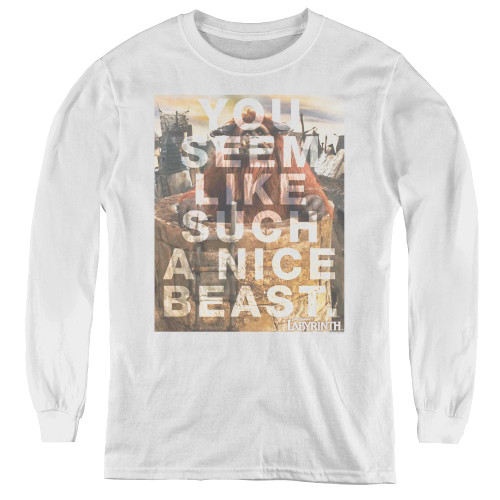 Image for Labyrinth Youth Long Sleeve T-Shirt - Nice Beast