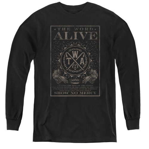 Image for The Word Alive Youth Long Sleeve T-Shirt - Show No Mercy