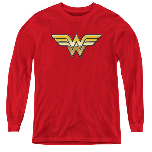 Image for Wonder Woman Youth Long Sleeve T-Shirt - Golden Logo