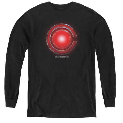 Image for Justice League Movie Youth Long Sleeve T-Shirt - Cyborg Logo