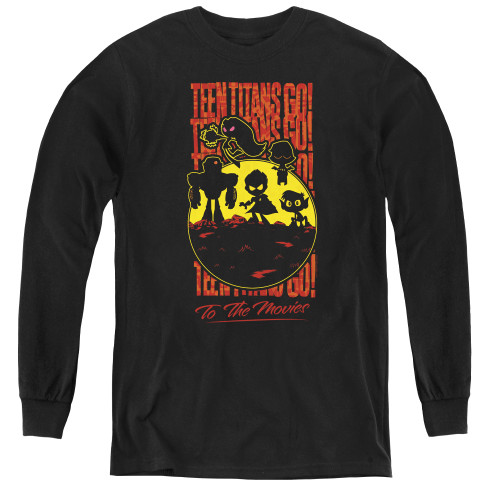Image for Teen Titans Go! Youth Long Sleeve T-Shirt - Go to the Movies Silhouette