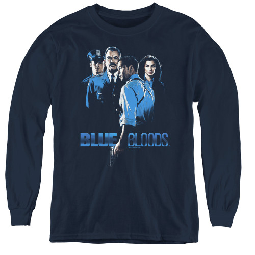 Image for Blue Bloods Youth Long Sleeve T-Shirt - Blue Inverted