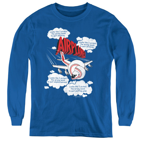 Image for Airplane Youth Long Sleeve T-Shirt - Looks Like I Picked the Wrong Week...