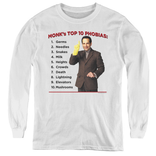 Image for Monk Youth Long Sleeve T-Shirt - Top 10 Phobias