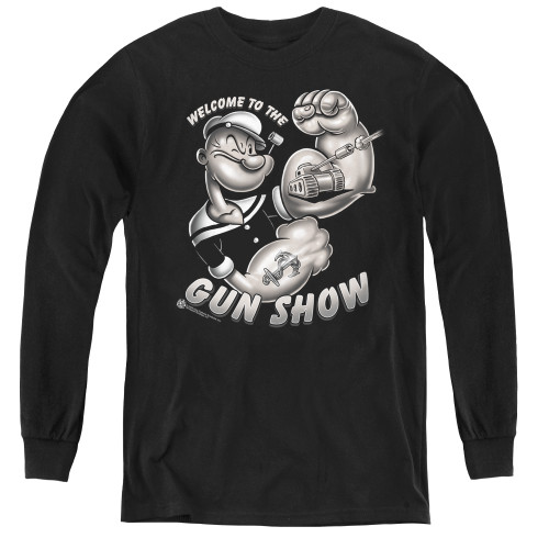 Image for Popeye the Sailor Youth Long Sleeve T-Shirt - Gun Show