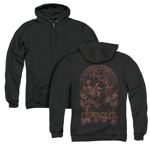 Image for Kiss Zip Up Back Print Hoodie - Comic Style