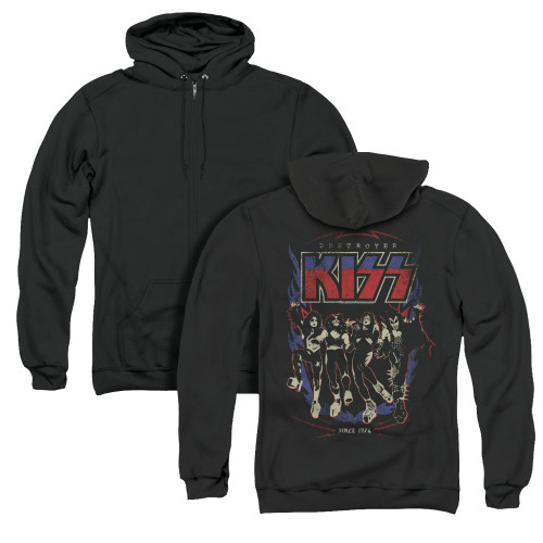 Image for Kiss Zip Up Back Print Hoodie - Destroyer
