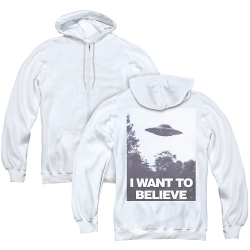 Image for The X-Files Zip Up Back Print Hoodie - Believe Poster