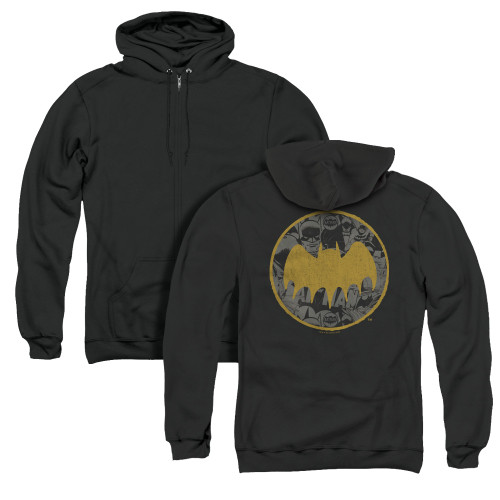 Image for Batman Zip Up Back Print Hoodie - Vintage Symbol Collage