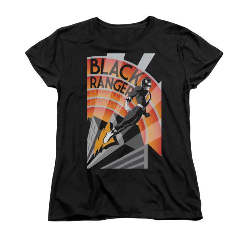 Image for Power Rangers Woman's T-Shirt - Black Ranger Deco