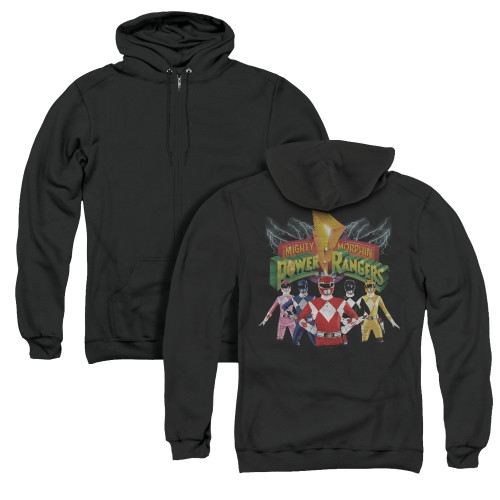 Image for Power Rangers Zip Up Back Print Hoodie - Rangers Unite