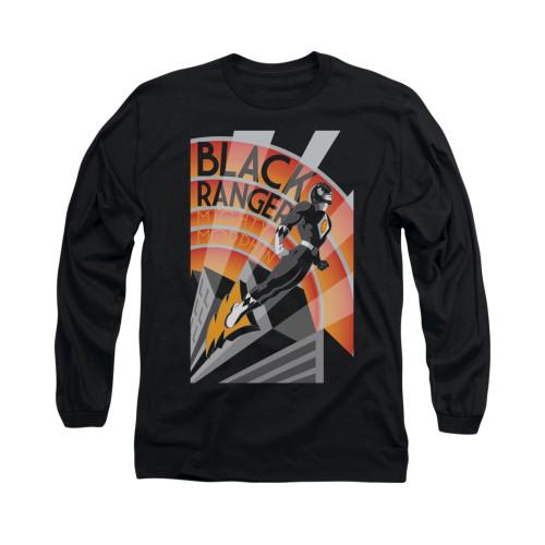 Image for Power Rangers Long Sleeve T-Shirt - Black Ranger Deco