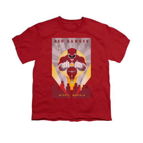 Image for Power Rangers Youth T-Shirt - Red Ranger Deco
