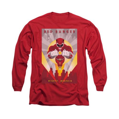 Image for Power Rangers Long Sleeve T-Shirt - Red Ranger Deco