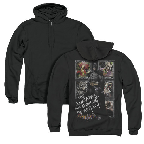 Image for Batman Arkham Asylum Zip Up Back Print Hoodie - Running The Asylum