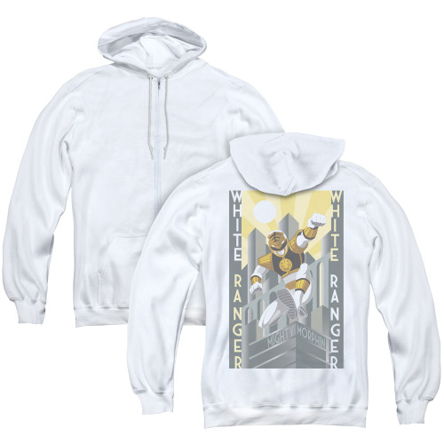 Image for Power Rangers Zip Up Back Print Hoodie - White Ranger Deco