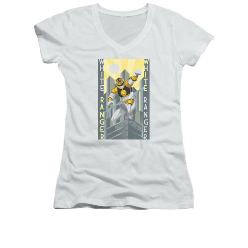 Image for Power Rangers Girls V Neck T-Shirt - White Ranger Deco