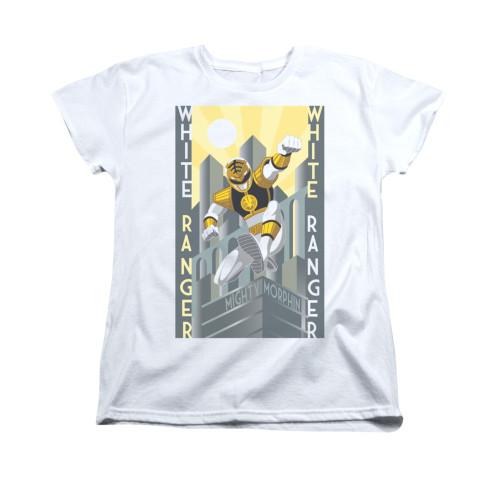 Image for Power Rangers Woman's T-Shirt - White Ranger Deco