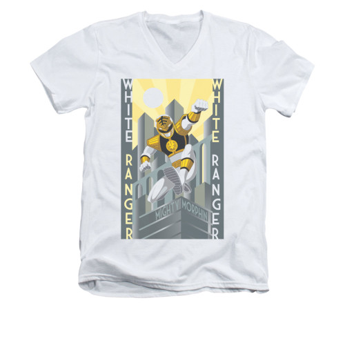 Image for Power Rangers T-Shirt - V Neck - White Ranger Deco