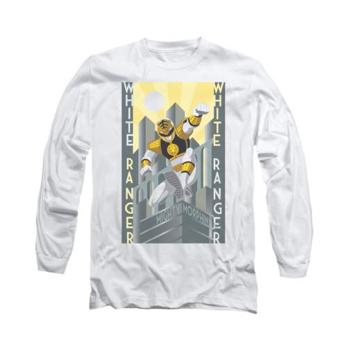 Image for Power Rangers Long Sleeve T-Shirt - White Ranger Deco