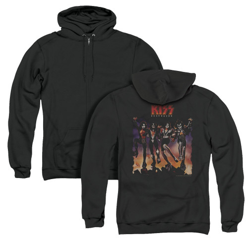 Image for Kiss Zip Up Back Print Hoodie - Destroyer Cover