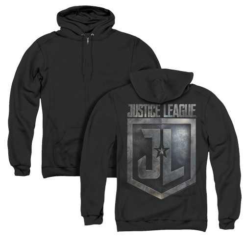 Image for Justice League Movie Zip Up Back Print Hoodie - Shield Logo