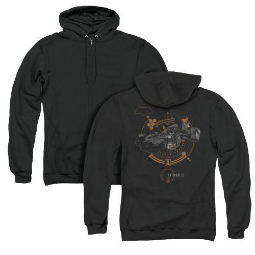 Image for Justice League Movie Zip Up Back Print Hoodie - Batmobile