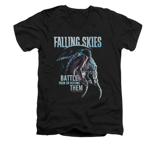 Image for Falling Skies V-Neck T-Shirt Battle or Become