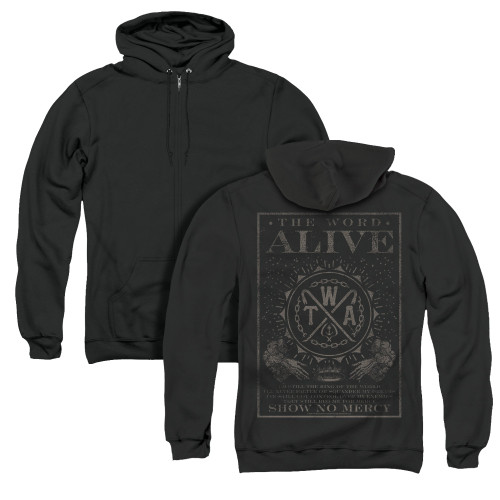 Image for The Word Alive Zip Up Back Print Hoodie - Show No Mercy