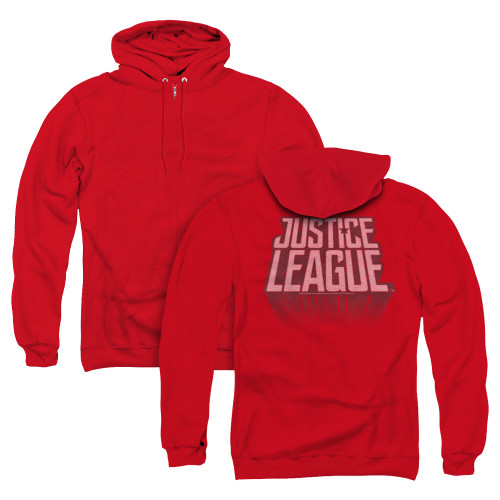 Image for Justice League Movie Zip Up Back Print Hoodie - League Distressed