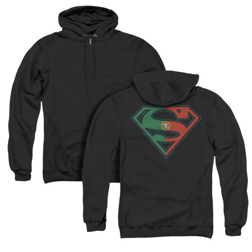 Image for Superman Zip Up Back Print Hoodie - Portugal Shield